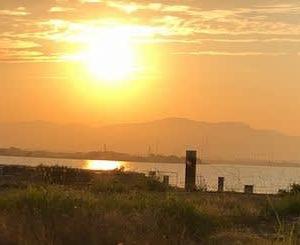 2021年6月22日(火)  吉野川河川敷 綺麗な夕日でした