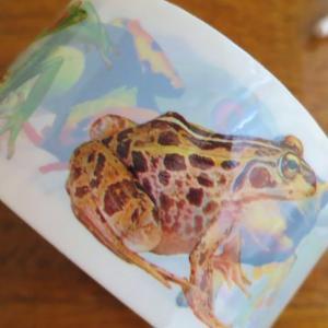カエルのビニテで、コラージュ・はがき2種
