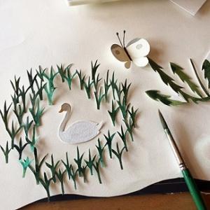 白鳥の水彩画