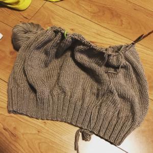 【編んでいるもの】玉のセーター