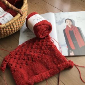 【編んでいるもの】赤いマフラー