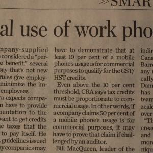 トロントの朝 10月15日 会社支給の携帯が所得課税される!?