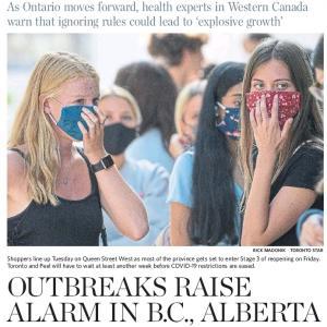 トロントの朝 7月22日  カナダ西岸で再開後、若者に感染者が増加!?