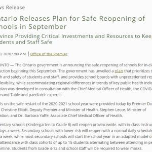 トロントの昼 7月30日   学校再開プラン 発表!?