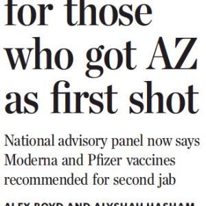 トロントの朝 6月 18日 アストラゼネカを接種した人にも二回目はmRNAワクチンを推奨!?