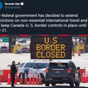 トロントの午後 6月18日 米国国境閉鎖、7月21日まで延長!?