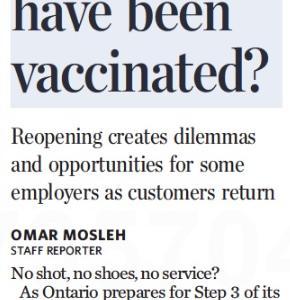 トロントの朝 7月 14日 再開に向けたワクチンジ接種ステイタスをめぐる問題!?