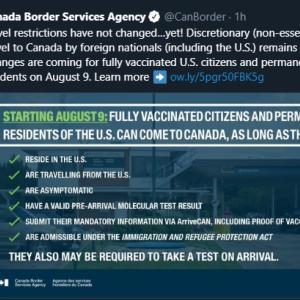 トロントの午後 7月 22日 ワクチン接種完了者以外の人に対する入国緩和はまだです!?