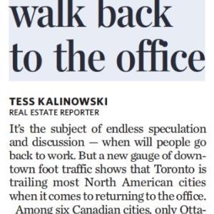 トロントの朝 9月 15日 トロントは職場復帰に慎重!?