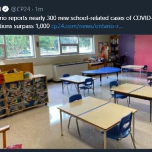 トロントの午後 9月 21日 学校感染が300件以上増加!?