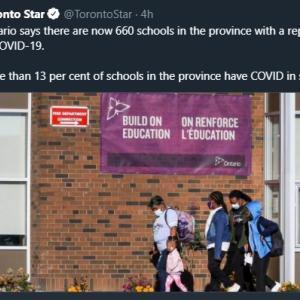トロントの午後 9月 22 日 学校感染の増加が速い!?