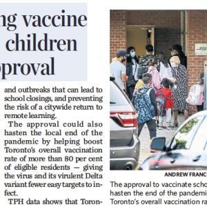 トロントの朝 9月 28 日 4-11歳へのワクチン接種計画を作成!?