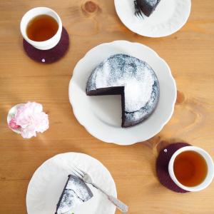 こしあんと豆腐のブラックガトーショコラ de お茶時間。。。