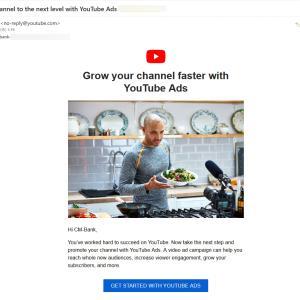 Youtubeから英文のメールが届いたが・・・