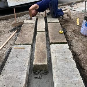 大谷石敷き
