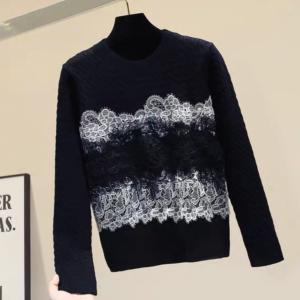Lovelyケーブルニット レース セーター+ジオメトリー パターン ニットスカート