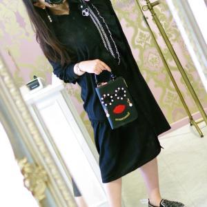 Lovely 斜めフリル ボタンシャツ ワンピース・ブラック