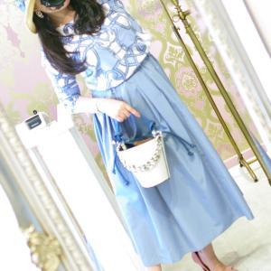Lovely スカーフ柄スプリングセーター・ブルー