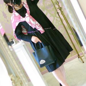 Lovely スカーフ柄スプリングセーター・ピンク