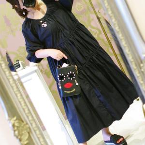 Lovely お袖バルーン 3段フリルワンピース・ブラック