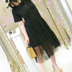 Lovely 裾ティアードチュール Tシャツ・ブラック