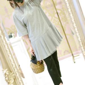 Lovely 裾プリーツ Tシャツ・グレー