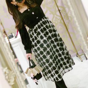 Lovely <ベルベット>チェック スカート ワンピース・ブラック