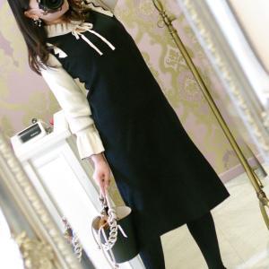 Lovely おリボン ワンピース・ベージュ&ブラック