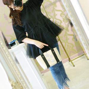 Lovely オーバサイズ チュールTシャツ・ブラック