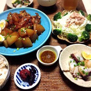 ■今日の晩ごはん■大根と鶏手羽元の煮物♪