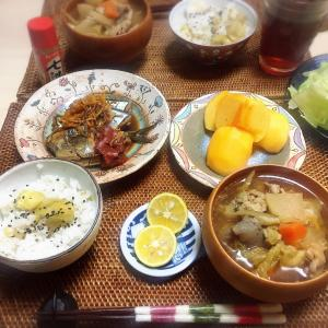 ■今日の晩ごはん■秋の献立♪秋刀魚・栗・柿