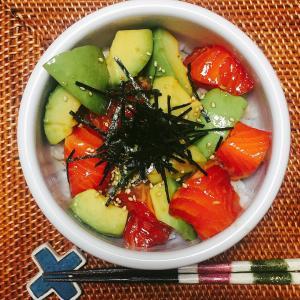 ■今日の晩ごはん■サーモンアボカド丼♪