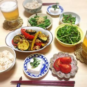 ■今日の晩ごはん■夏野菜いろいろごはん♪