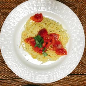 ■今日の晩ごはん■トマトとバジルの冷製パスタ♪