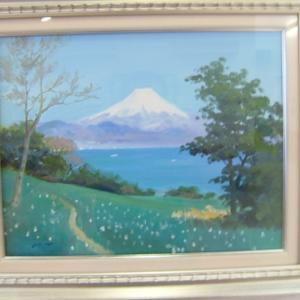 富士山、油彩