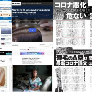 コロナ感染の後遺症の脱毛症が国内外の研究機関が確認と世界中で報道