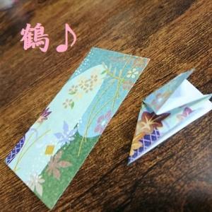 折り紙でツルを折って~レジン液をつけて~~~♪