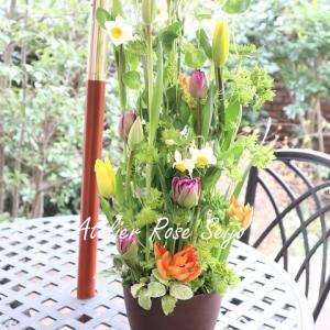 春のお花で・・すっと伸びやかなバーティカルアレンジ!