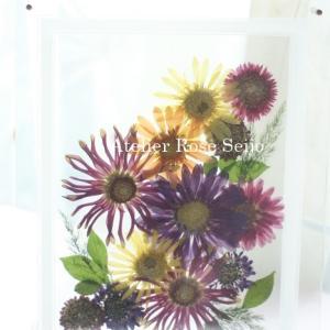 ガーベラの押し花を作った個性的で元気が出るプラントアート!