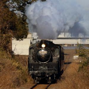 真っ正面から夕日を浴びる機関車 - 2020年・真岡鉄道 -
