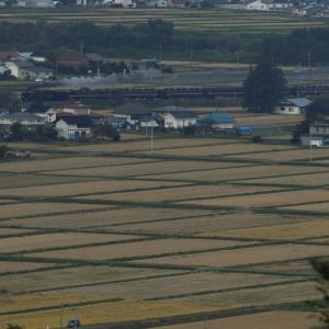 稲刈りも終わった田んぼの向こうの煙 - 2020年秋・磐越西線 -