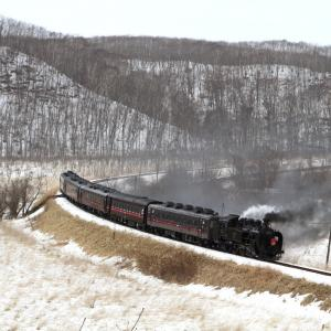 湿原の中のカーブで吹き飛ぶ煙 - 2021年冬・釧網線 -
