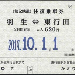 (秩父鉄道) 往復乗車券 羽生⇔東行田