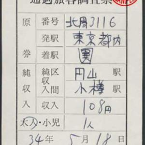 札幌自動車営業所車掌 通過旅客調査票
