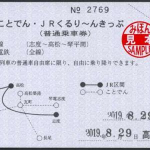 高松築港駅発行 ことでん・JRくるり〜んきっぷ 西暦日付券