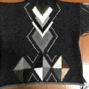キッズ作品 フード付きアーガイル ジャケット メリヤス刺繍