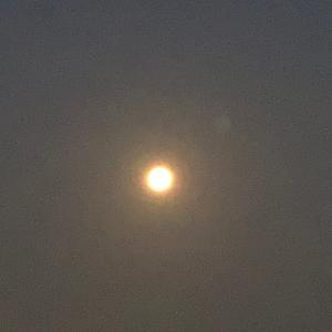 今朝4時の満月さん&だんだんお空が明るくなって来た4時半の満月さん〇今朝の朝日さん♬