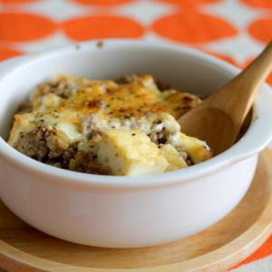 厚揚げと肉そぼろのマヨチーズ焼き