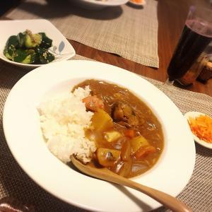 サバカレーの夕食