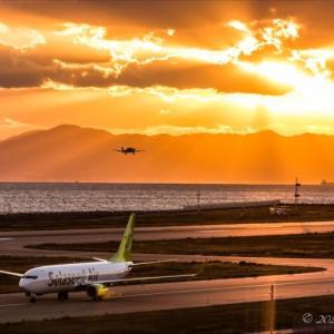 神戸空港にてロケフォト:反薄明光線の美しい風景